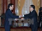 国家主席张晋创接受五国新任驻越大使递交的国书