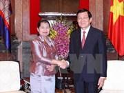 越南国家主席张晋创会见柬埔寨皇家政府副首相梅森安