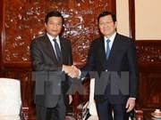越南国家主席张晋创会见老挝驻越大使