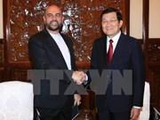 张晋创主席会见前来辞行拜会的伊朗大使