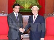 越共中央总书记会见老挝驻越大使