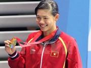越南游泳名将阮氏映圆在第六届世界军人运动会获铜牌