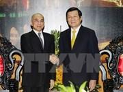 越南国家主席张晋创会见柬埔寨国王诺罗敦·西哈莫尼