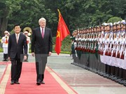 越南国家主席张晋创同冰岛总统格里姆松举行会谈