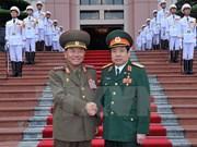 越南国防部部长与朝鲜人民武装力量部部长举行会谈