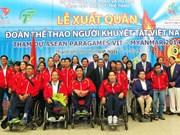 越南残疾人体育代表团出征新加坡参加第8届东盟残疾人运动会