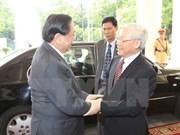 越南党国家领导人致电老祝贺老挝国庆40周年