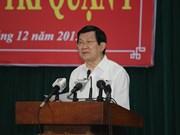 越南国家主席张晋创与胡志明市选民接触