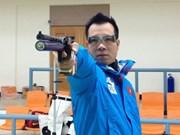 越南射手黄春荣在50米手枪慢射项目中居世界第3位