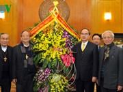 越南祖国阵线中央委员会主席阮善仁会见越南天主教主教团主席