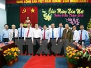张晋创主席向隆安、同塔省党部、政府和人民拜年