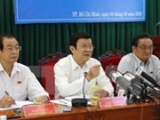 越南国家主席张晋创会见胡志明市企业代表