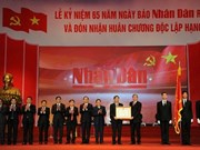 越南《人民报》社举行创刊65周年庆典暨一级独立勋章授勋仪式