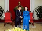 越共中央民运部部长会见老挝人民革命青年团代表团