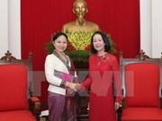 越共中央民运部部长张氏梅会见老挝妇联会代表团