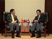 第49届东盟外长会议:越南政府副总理兼外长范平明会见老文缅三国外长