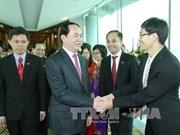 陈大光主席与越南驻新大使馆干部职员和旅居新越南人代表举行见面会