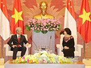 越南国会主席阮氏金银会见新加坡副总理张志贤