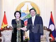 越南国会主席阮氏金银会见老挝总理通论