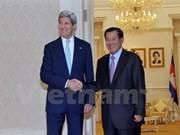柬埔寨首相洪森会见美国国务卿克里