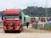 老街国际口岸迎来春节后首批出口商品