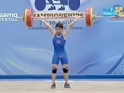 2016年亚洲举重锦标赛:越南举重运动员郑文荣摘1金1银