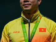 2016年里约奥运会:越南射击选手黄春荣获得射击男子50米手枪慢射银牌