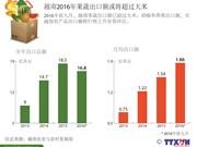 越南2016年果蔬出口额或将超过大米