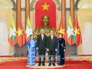 陈大光和夫人设宴招待缅甸总统吴廷觉和夫人