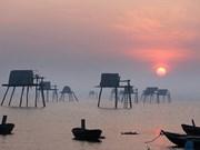 越南太平省同洲海滩上的黎明美景