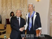 越共中央总书记阮富仲会见国际货币基金组织总裁拉加德