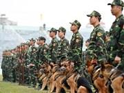 越中边境国防友好交流上的武术军犬表演
