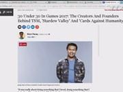 """越裔美国游戏制作人跻身""""电子游戏开发者三十强""""榜单"""