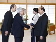 阮春福与夫人会见日本天皇和皇后