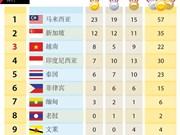 图表新闻:第29届东南亚运动会奖牌排行榜
