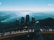 两手托起的半山走廊  岘港市金桥火爆网络