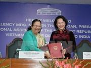 越南国会主席阮氏金银同印度人民院议长苏米特拉•马哈詹举行会谈