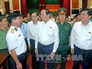 越南国家主席陈大光接触胡志明市武装力量选民