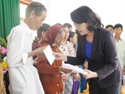 越南国家副主席邓氏玉盛莅临广义省看望受灾群众