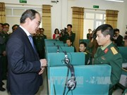 阮善仁同志访问河内市特工军官学校