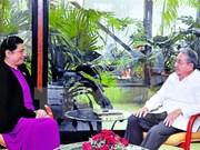 古巴领导劳尔·卡斯特罗会见越南国会副主席丛氏放