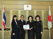 旅居泰国越南人为泰国南部灾区人民赠送慰问品