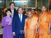 阮春福总理会见柬埔寨大宗派最高僧王狄旺长老和柬越友好协会代表团
