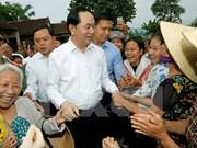 越南国家主席陈大光走访乂安省新祺县义同乡