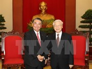 越共中央总书记 阮富仲会见日本国会众议院议长大岛理森
