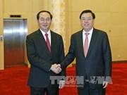 国家主席陈大光会见中国全国人大常委会委员长张德江