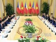 越南国家主席陈大光与捷克总统米洛什·泽曼举行会谈