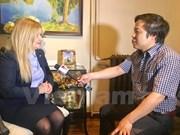 越通社记者对俄罗斯中小企业扶持署署长奥尔加•科舍夫进行采访