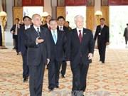 越共中央总书记一行访柬受到热烈欢迎