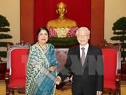 越共中央总书记阮富仲会见孟加拉国国民议会议长希琳